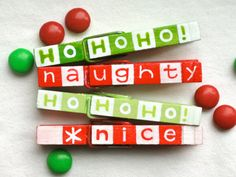 NAUGHTY or NICE CHRISTMAS clothespin hand painted by SugarAndPaint, $10.00
