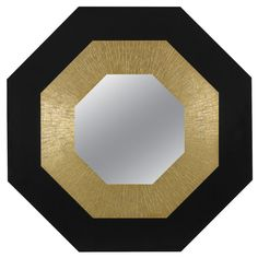 Mirror by Georges Mathias  Belgium  c. 1975  This work is unique. Engraved signature to front: [George Mathias]. This exceptionally beautiful mirror by Belgian designer George Mathias is one of a kind and signed to the front by the artist. The metallic and bold geometries of the hexagonal frame suggest an Art Deco sensibility.
