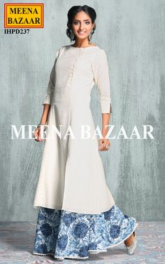 Meena Bazaar brings to you an incredibly unique creation, this off-white palazzo suit. This 3/4th-sleeved cotton kameez flaunts with twill weave and mother of pearl buttons, which will get you noticed easily. Comes with matching printed tie and dye effect rayon palazzo.