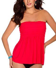 f4e729c184 Magicsuit Red Smocked Vicki Strapless Tankini Top