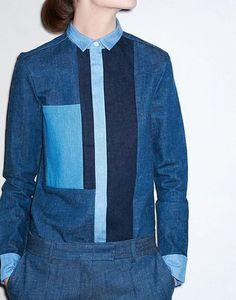 CELINE : Stretch Blue Denim Patch Shirt: