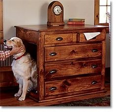 Very creative for an indoor dog house. Hmmm, turn a old dresser into a dog house.I likee Crate Decor, Crate Table, Crate Bed, Dog Crate Furniture, Furniture Ideas, House Furniture, Reclaimed Furniture, Furniture Inspiration, Bedroom Furniture