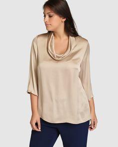 Blusa de mujer talla grande Talla y Moda con manga francesa y cuello caído