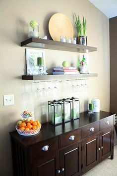 shelves above the dresser/buffet in dining room