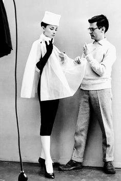 Audrey Hepburn and Richard Avedon during a photoshoot, 1956