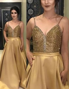 Stunning Gold Prom Dresses 2021 Long Satin Formal Gown beaded top with – shinydress Straps Prom Dresses, Gold Prom Dresses, Affordable Prom Dresses, Prom Long, Beaded Top, Formal Gowns, Dress For You, Fashion Dresses, Satin