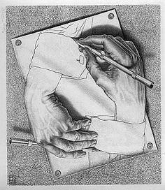 M. C. Escher - hands. Why draw this? Because he could.