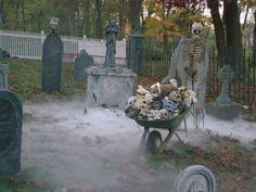 Halloween style!! Collecting skulls in a wheelbarrow - add fog ....