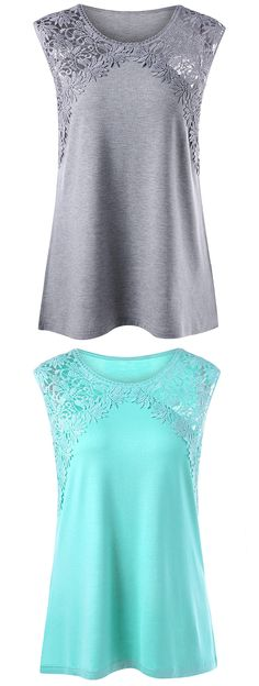 Sewing Blouse Plus Size Lace Panel Longline Tank Top - Fashion Clothing Site with greatest number of Latest casual style Dresses as well as other categories such as men, kids, swimwear at a affordable price. Casual Outfits, Cute Outfits, Fashion Outfits, Womens Fashion, Looks Plus Size, Plus Size Tops, Sewing Clothes Women, Clothes For Women, Cheap Tank Tops