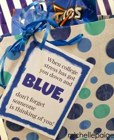College Blues-- Care package of all blue treats and printable tag. College Blues-- Care package of all blue treats and printable tag. College Gift Baskets, College Gifts, College Hacks, College Checklist, College Dorms, College Years, College Fun, Education College, Physical Education