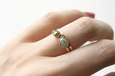 Two Stone Rose Cut Diamond Ring in 14k Gold : Handmade Engagement Ring by TorchFire Studio