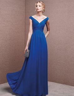 Vestido de madrina, de color azul