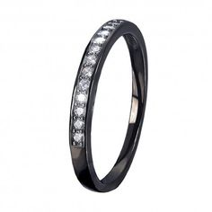 Black Women's AAA Cubic Zirconia Heart Cut Sterling Silver Engagement Wedding Ring Band