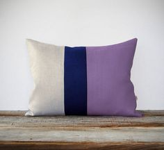 Color Block Stripe Pillow in Lavender Navy and by JillianReneDecor, $55.00