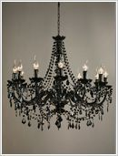 Antique French Black Acrylic Chandelier 12 Arm