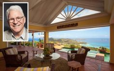 Comedian Steve Martin just sold his Caribbean hilltop villa on the island of St. Barts, and this thing is no joke.  Centered on a courtyard, the property has four bedrooms and 3,000 square feet of living space, with panoramic vistas of clear blue water in the bay of St. Jean.  The main living space is