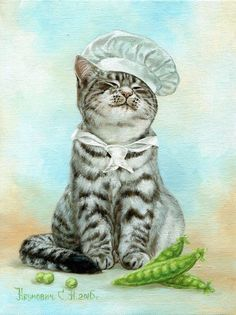 cat chef by I Love Cats, Cute Cats, Photo Chat, Cat Posters, Animal Sketches, Vintage Cat, Cat Drawing, Animal Paintings, Cat Art