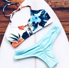 Print Hollow Out Beach Bikini Set Swimsuit Swimwear