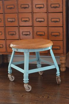 Old industrial stool becomes colorful extra seating www.ciburbanity.com
