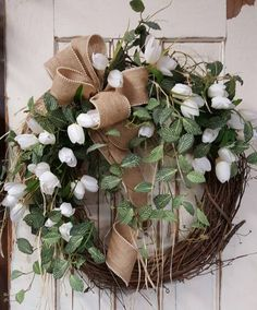 Front door wreath, home decor wreath, tulips and Greenery Wreath, tulips, Everyday Burlap Wreath, Door Wreath, Front Door Wreath by FarmHouseFloraLs on Etsy