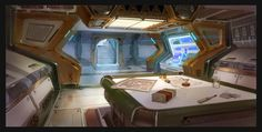 Interior study by Real-SonkeS on DeviantArt Spaceship Interior, Futuristic Interior, Spaceship Design, Environment Concept Art, Environment Design, Starship Concept, Education Architecture, Interior Concept, Cool Paintings
