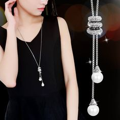 2016 New Women All-match Tassel Sweater Chain Female Long Long Necklace Pendant Pendant Simple Clothes Accessories