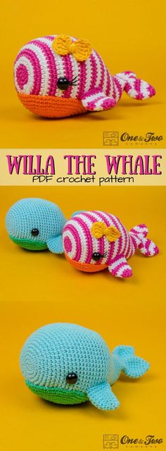 Fun striped whale amigurumi crochet pattern for this cute stuffed animal! I love the bright pink color on this whale! Looks like a simple, but unique easy pattern for a great stuffed toy that any beginner crocheter can make. #etsy #ad