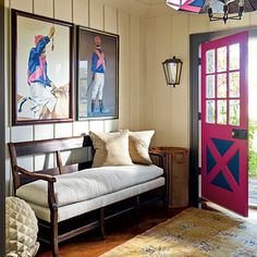 love the jockeys on the wall and decorative painting to match the silks