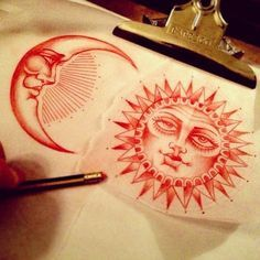 moon and sun love these pieces more sun and moon tattoo moon and sun ...