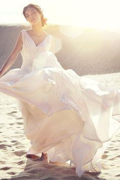 Windblown wedding photography.