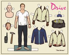 Ryan Gosling paper doll, complete with blood-soaked embroidered scorpion jacket.  Scorps for life, man.