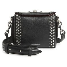 Women's Alexander Mcqueen Box Bag 16 Studded Leather Bag ($1,890) ❤ liked on Polyvore featuring bags, handbags, shoulder bags, black, alexander mcqueen, chain strap purse, alexander mcqueen handbags, studded handbags and structured handbags