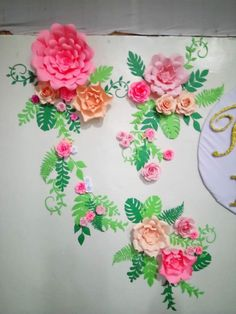 18th Birthday Paper Flower Background shades of peach Garden theme with leaves by Gelle DIY