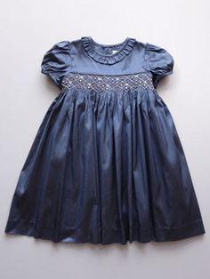 Luli & Me Navy Silk Smock Dress Baby & Toddler Girls Toddler Dress, Toddler Outfits, Kids Outfits, Toddler Girls, Baby Girls, Smocked Baby Dresses, Little Girl Dresses, Girls Dresses, Toddler Fashion