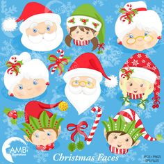 Christmas Faces Clipart, Christmas Santa Clipart, Mrs Claus and Christmas Elves Clipart, Commercial Use, Instant Download AMB-191