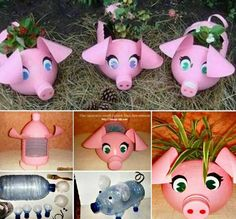 Upcycle Plastic Bottles into these adorable Piggy Planters Wonderful DIY Piglet Planter from Plastic Bottles This easy pallet planter is very good forPress this pic for 3 seconds then FOWARD it to your friends growing strawberry . Reuse plastic bottles to Plastic Bottle Planter, Reuse Plastic Bottles, Plastic Bottle Crafts, Recycled Bottles, Plastic Recycling, Plastic Bottle Flowers, Recycling Ideas, Plastic Bags, Upcycled Crafts