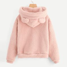 Yemenger Fuzzy Fleece Coat for Womens Teddy Bear Hoodie Cute Hooded Pullover Sweatshirt Outwear Thermal Tops Oversized Hoodie Outfit, Hoodie Sweatshirts, Style Hip Hop, Style Streetwear, Fuzzy Pullover, Bear Hoodie, Fleece Hoodie, Types Of Sleeves, Harry Styles