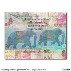 Inspiring Gandhi quote with art from India Postcard