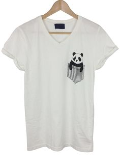 - panda in the pocket graphic - v-neck short sleeves t-shirt - 50%cotton and 50% poly - made in USA