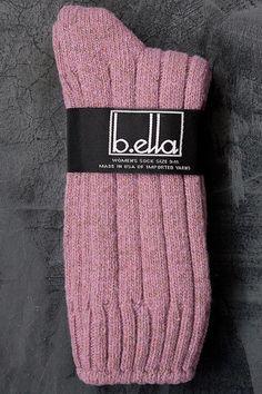 Erin Wool & Silk Socks - Ribbed wool and silk midcalves with tweed bits of…