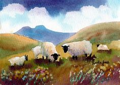 Watercolour Print, Sheep, In The, Brecon Beacons, South Wales, Size 14ins x…