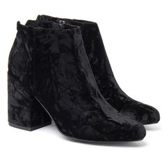 Senso Jaclyn Crushed Velvet Black Ankle Boot ($71) ❤ liked on Polyvore featuring shoes, boots, ankle booties, short boots, black ankle bootie, slip on boots, pull on boots and bootie boots