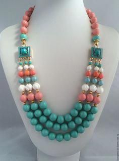 Buy Necklace from Mallorca pearls, coral and turquoise PALMA DE MAJORCA - necklace, Mallorca pearls Chunky Jewelry, Old Jewelry, Pearl Jewelry, Jewelery, Unique Jewelry, Beaded Necklace Patterns, Jewelry Patterns, Necklace Designs, Beaded Bracelets