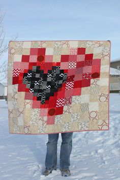 Daydreams of Quilts: Pixel Heart in a Pixel Heart Quilt