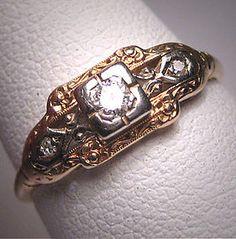 Victorian art deco diamond wedding ring, circa 1900-1930's