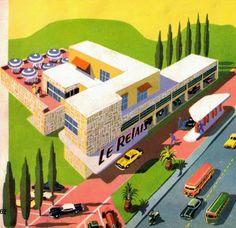 Un relais restaurant - from Encyclopédie de la vitesse (1956). Illustrator: Henri Mercier. (via Mondorama 2000)