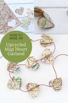 Vintage map heart garland, a simple but lovely Valentine's decoration for your home. Repurpose old out of date roadmaps to make this craft. #papercrafts #heartgarland #mapcrafts Map Crafts, Heart Map, Heart Garland, Valentine Decorations, Christmas Decorations, Presents For Kids, Repurpose, Craft Tutorials, Craft Ideas