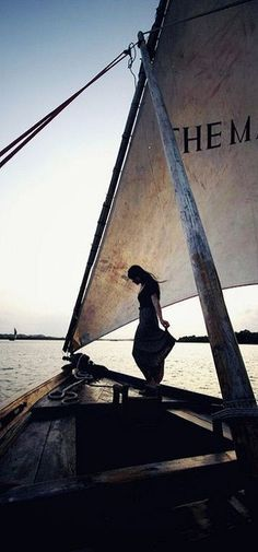 Girl on a sailboat