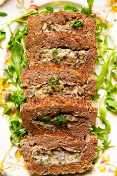 Add more flavour to your regular meatloaf by stuffing it with mushrooms sauteed with herbs and garlic and folded into silky cream cheese. This stuffed meatloaf recipe will keep your family coming for more. This groundchickenrecipes Basic Meatloaf Recipe, Meat Loaf Recipe Easy, Creamy Mushrooms, Sauteed Mushrooms, Mushroom Meatloaf, Cheese Stuffed Meatloaf, Stuffed Meatloaf Recipes, Ground Beef Recipes, Turkey Recipes
