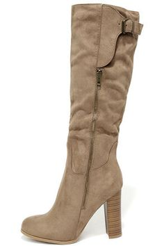 From On High Taupe Suede Knee High Heel Boots